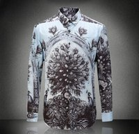 Wholesale Peacock Feather Shirt - Wholesale- Europe and the United States men's new autumn 2016 Digital peacock feathers cotton shirts printed cultivate one's morality