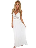 Crochet Plunge aushöhlen Sheer White Neckholder Backless Long Maxi Kleid Lässige Strand Strappy Party Kleid 2017 Sommer