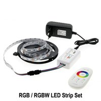 Wholesale Neon Lights Power Supply - 5050 RGB LED Strip 12V 5M 300LEDs RGB   RGBW  RGBWW Neon Strip string lights+ 2.4G Touch Remote Controller +12V 3A Power Supply