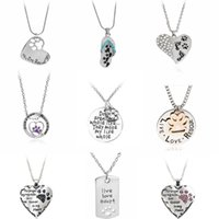 Wholesale Heart Bff Necklaces - Lovely Pet Dog Paw Pendant Necklace Flip Flop Heart Crystal Clavicle Chain Women Girl Mother Grandmother Best Friend BFF Gift Valentine Day