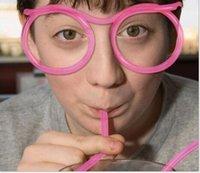 palha única venda por atacado-Barba Óculos De Sol Beber Palha Engraçado Crianças Coloridas De Plástico Macio Palha Único Flexível Beber Óculos De Sol Tubo Crianças Presente Do Partido