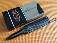 Wholesale Mini Key Knife - Promotion! Mini microtech Key buckle knife aluminum Carbon fiber mini microtech Troodon double action Folding camping knife
