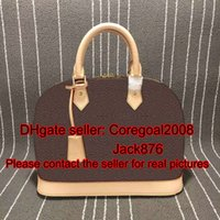 Wholesale Bells Mm - Alma L M53151 PM MM BB key bell GARANCE Rubis kaki womens genuine VERNIS leather handbag tote shell bag luxury boston M42401 M90169