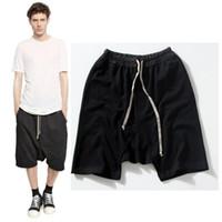 Wholesale Shorts Crotch - Wholesale-Newest justin bieber oversized hip hop shorts mens skate board shorts harem short pants men kanye west drop crotch sweat shorts