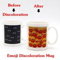Wholesale Eye Mug - Emoji Mug Magic Discolored Cup Smile Face Eyes Tumbler With Handgrip Cups Personality Couple Mugs 350ml CCA6352 20pcs