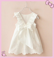 Wholesale Dress Suspenders Ruffle - 2017 New Summer Girl Children Baby 100% Cotton White Ruffle Bowknot Dress Dress Skirts Princess Sleeveless Embroidery Hollow Out Dress Skirt