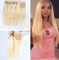 Wholesale Color 12 613 Hair - 613 Blonde Virgin Hair With Closure Human Hair Straight Platinum 4pcs Blonde Virgin Hair Bundles With Lace Closure from naturalhairfactory