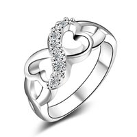 Wholesale Three Stone Channel White Plated - Wedding Rings For Women High Originality of eight rings With fashion jewelry wholesale YDHR119