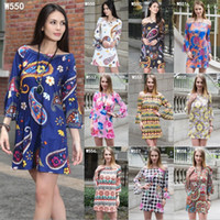 Wholesale Dresses Sommer - 2017 New Style Sexy Sleeveles Pattern Print Lose Strich Hals Sommer Horn Sleeve Dresses Large Size Frauen Dress Fashion summer shirt