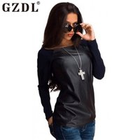 Wholesale Leather Sleeve T Shirt Women - GZDL Fashion T Shirt Spring Autumn Tops Women Black Long Sleeve Leather T-Shirt Casual Loose Boat Neck Tee Shirts Blusas CL2393