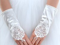 Wholesale Wholesale White Short Satin Gloves - Wholesale- Short fingless satin White Ivory red color girl lady princess bridesmaid dancing performance gloves free shiping wholesale