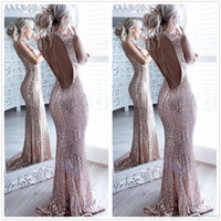 Wholesale Full Size Evening Gowns - 2017 Sexy Rose Gold Backless Mermaid Sequins Long Prom Dresses High Neck Full Length Elegant Vintage Long Formal Party Evening Gowns