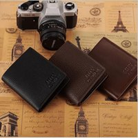 Wholesale Business Christmas Party - New Arrival Multiple layers PU Business Imitation Mens Wallets Fine Bifold Brown Black PU Leather Credit Card Party Traver Wallet for Men