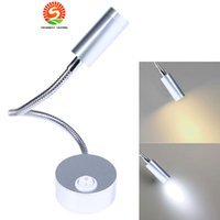 Wholesale Painting Warm - New arrive Silver Flexible Hose LED Wall Lamp 3W Arm LED Lights Bedside Reading Light Study Painting warm white white red blue green