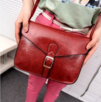 Wholesale British Vintage Leather Bag - Oil quality PU leather women bag 2016 autumn new fashion trend of British retro shoulder bag belt buckle new wild sexy red wine