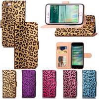 ingrosso caso doppio portafoglio iphone-Custodia a portafoglio in pelle leopardata per Samsung S8 Plus Custodia a conchiglia in TPU Custodia rigida con slot per scheda Custodia a doppio cinturino per iPhone 7 6 6S Plus