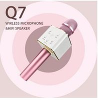 Wholesale Battery Loudspeaker Bluetooth - Q7 Wireless Microphone Bluetooth Speaker with 2600mAh Large Capacity Battery Karaoke Loudspeaker for Iphone7 plus Xiaomi Samsung