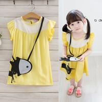 Wholesale Cute Chinese Girls - New Korean Girls Clothes 2017 Summer Cute Sweet yellow Princess Dresses fish messenger bag 2pcs Girl Dress Childrens Clothing Lovekiss A79