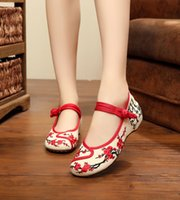 Wholesale Vintage Lace Narrow - Wholesale- Women Cotton Flower Embroidery Shoes Vintage Ladies Casual Chinese Style Old Beijing Walking Flats Zapatos Mujer Big Size 35-41