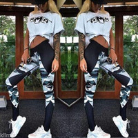 Wholesale Joint Tight - 2017Foreign Trade Camouflage Split Joint Motion Tight Trousers Gym Yoga Aerobics Pants High Quality