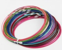 novo 200pcs / lot Mixed Multi Color Stainless Steel Wire Cord Colares Correntes Jóias 18