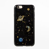 Wholesale Planet Green - Bling SKY Stars TPU Case For iPhone 6 6s Plus 7 Plus Soft Black Planet Fantasy Thick Back Skin Cover Free Shipping