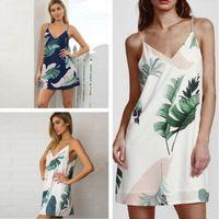 Wholesale Sleeveless Chiffon Shift - Fashion White Cami Summer Dress Women Palm Leaf Print Double V Neck Casual Shift Dresses 2017 Fashion Sexy Sleeveless Dress