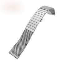 Wholesale Particle Band - Hot sale High-grade stainless steel woven mesh watch band adjustable length of Milan and real particles 18 20 22 24mm silver color