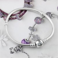 Wholesale Girls Bead Bracelet Bangle - Charm Bracelet Brands 16-23cm European Style Charm Bracelet Chain Clasp Copper Plating Silver Girls Bangle Jewelry DIY Wholesale Snake Chain