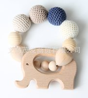 Wholesale wood elephant toy - Baby Molar Toy Wood Molars Stick Organ Teething Toys Elephant Wooden Ring Dental Adhesive Attract Kids Attention Innovate 19mf H1