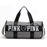 Wholesale Women Men Handbags VS Pink Large Capacity Travel Duffle Bag Triped Waterproof Beach Bags Weekender Sports Fitness Shoulder Luggage Bag