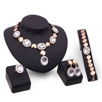 Wholesale Choker Plate - hot sale fashion colorful crystal diamond 4 pcs set 18k gold plated Earring bracelet rings choker Necklace wedding jewelry
