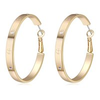 Wholesale silver big round earrings - 2017 Luxury Big Round Button Earrings For Women Gold Zircon Dangle Earrings Jewelry Best Christmas Gift for Women