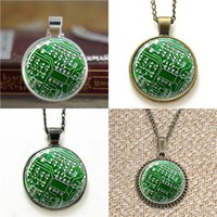 Wholesale Circuit Chip Wholesale - 10pcs Computer Green Circuit Board Computer Chip Art Necklace keyring bookmark cufflink earring bracelet