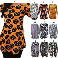 Wholesale Hooded Skeleton - Women girls Elegant Chrismas Halloween pumpkin skull Mini Dress Long Sleeve Bodycon skull Skeleton Spring Party Dresses YYA525