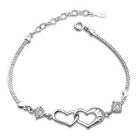 Wholesale Luxurious Diamond Ships - New Love Charms Heart to Heart Bracelet Band With Luxurious CZ Diamond Silver Bangle Bracelet Free Shipping Lady Gift