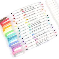 Wholesale In Japan the zebra Hand notes double headed watercolor fluorescence pen Quietly elegant is downy color markers
