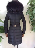 Wholesale White Long Puffer Coat - Coats for women Jacket parka Puffer Duck Down Long sleeve clothes Black Real fur overcoat MW25