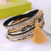 Wholesale Double Leather Charms Bracelet - Bohemian Multilayer Leather Bracelets For Women Rhinestone Crystal Bracelets Tassel Magnetic Double Bracelets & Bangles Handmade Weaves