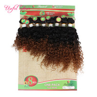 Wholesale kinky hair weave for blacks for sale - Group buy 8pcs human hair extensions g kinky curly hair Blonde Extensions weaves closure burgundy color weave bundles for black women marley