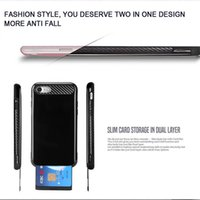 Wholesale Cell Phone Covers Blackberry - Mobile Phone Case for Apple iPhone 7 plus Samsung S8 Plus Cell Phone Case with Slid Card Holder Phone Cover Protector for iPhone