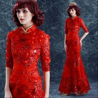 Wholesale Cheongsam Red Toast - New Arrival Hot Sale Fashion Elegant Luxury Princess Cheongsam Angel Red Rose Flowers Sequins Toast Fishtail Dinner Bridal Wedding Dress