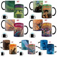 Wholesale Changing Color Mugs Wholesale - Harry Potter Series Color Changing Mugs Sensitive Magical Coffee Cups Anime Theme Cup Heat Reaction Tumbler With Handle OOA1863