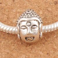 будды для браслетов оптовых-Голова Будды 4.5 мм религиозной большая дыра бусины 45pcs/много 10x14mm L1326 Тибетского серебра прелести подходят Европейский браслет сплава