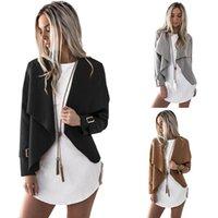 vestes asymétriques achat en gros de-Nouveau 2018 designer veste Femmes Vêtements Casual Asymmetrical Hem Boucles Métalliques Manteau Col V Front Ruffle Solide Outwear