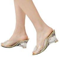 Wholesale Sexy Summer Wedges - Wholesale-Big Size 34-43 Open Toe Summer Shoes Flip Flops Fashion Cutout Wedge Heels Platform Transparent Sandals for Women Sexy 2015