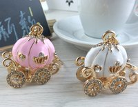 Wholesale Women Birthday Purse - Pumpkin Carriage Lovely Cute Crystal Charm Purse Handbag Pendant Car Key Keyring Keychain Party Wedding Birthday Gift