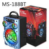 Wholesale Big Box Speakers - MS-188BT Bluetooth Speaker Big Sound Hifi Speaker Bass Wireless Subwoofer Outdoor Music Box With USB LED Light TF FM Radio With Package