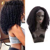 peluca rizada llena al por mayor-Afro rizado rizado peluca llena del cordón peluca del cabello humano 100% india Rizo rizado natural color negro Bella peluquería envío gratuito pelucas de pelo al por mayor