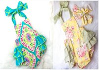 Wholesale Dot Bubble - New Summer Baby Clothes Floral Baby Rompers Girls Boutique Clothing One-piece Outfits Baby Bubble Rompers Jumpsuit Flower Girls Clothes